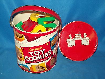 Vtg Advertising SUNSHINE TOY COOKIES TIN Can W/Handle  Full of Letters & Numbers