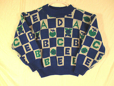 Vintage Color Kids Sweater Sz. 24 mos. Pullover Toddler Boy's Blue Alphabet EUC