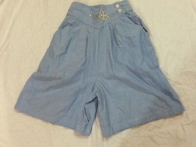 Andrew Sports Vtg 80s Blue High Waist Wide Bell Leg Beaded Shorts Size XS Small