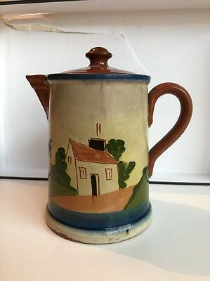 VINT LONGPARK POTTERY TORQUAY MOTTOWARE Large Tea Pot w/ MOTTO