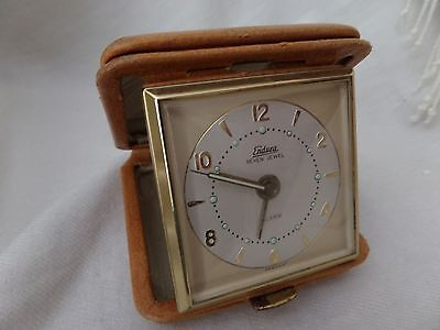 ​German Made Endura 7 Jewel Leather Travel Alarm Clock.  British Tan Case.