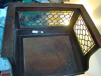 Antique Waring & Gillows Clerk/accountants Writing Desk Stained Glass Surround