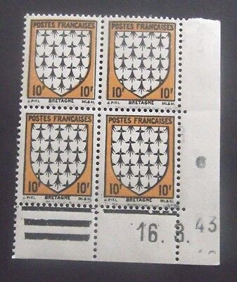 France-1943-10F Arms of Britain-Block of Four-MNH