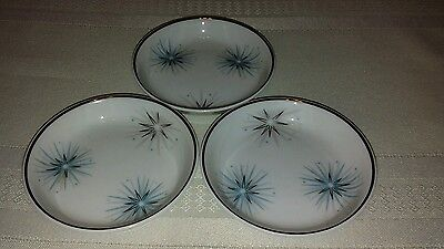 Three blue gray silver trim Starburs  pattern  easterling butter plates
