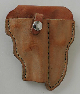 Small clip on Holster for Small Revolver in Brown Leather