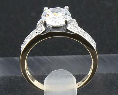 Fine jewelry brilliant Cut Natural 1.96CT Real diamond 14k Solid Y/gold ring 9#