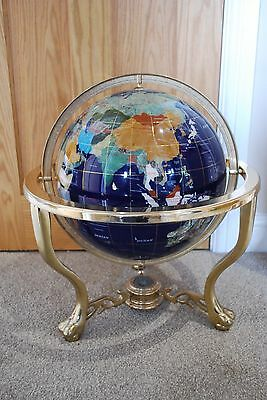 Lapis Blue Large Gemstone Globe with Compass