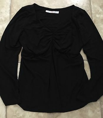 Japanese Weekend Black Shirt Top Motherhood Large L Maternity Long Sleeve