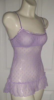 Angels by Victoria's Secret Lace Cami Teddy Size Small Purple EUC