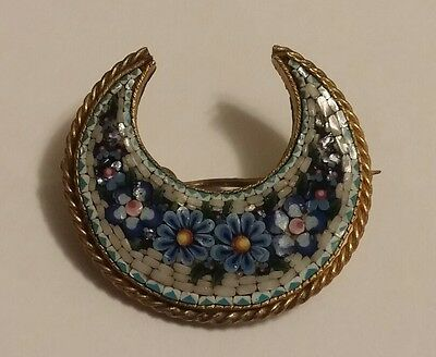 Antique Victorian Micro Mosaic Crescent Moon Floral PIn Brooch