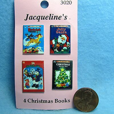 Dollhouse Miniature Christmas Books Set of 4 with Printed Covers & Backs ~ 3020