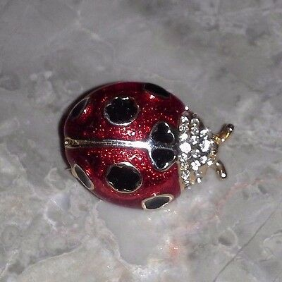 Black-Red-Gold Enameled RHINESTONE Un-Marked Ladybug Brooch Pin Beetle Bug Vtg.