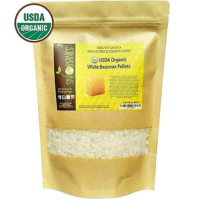 USDA Organic White Beeswax Easy Melt Pellets 1LB (16oz Bag) Candles Skin Care