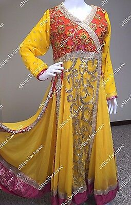 Pakistani Designer Ethnic Yellow Party Wear Gown Embroidery Maxi Shalwar Kameez