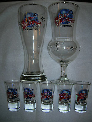 Planet Hollywood Glasses Lot of 7  Excellent Condition Pilsner, Hurricaine,Shot