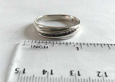 Sterling Silver Mens Diamond Wedding Band Size 11
