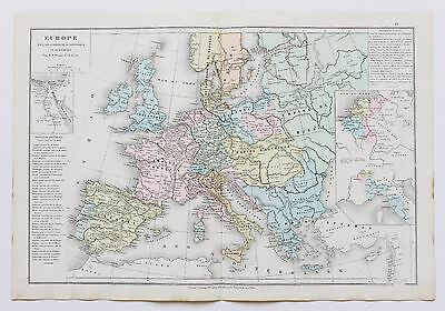 1879 Europe Map Empires Wars Leroy Drioux Hand-Colored Double Page Original