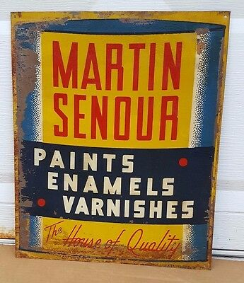 Metal Sign Martin Senour Auto Paint Advertising Hardware Store Rare Vintage