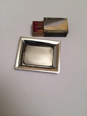 Tiffany & Co Makers Sterling Silver Modernist Ashtray #20958 and Matchbox Cover