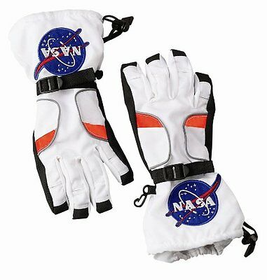 Aeromax Astronaut Gloves, size Large, White, with NASA patches