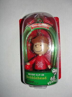 2013 Peanuts Charlie Brown Merry Christmas Holiday Clip-On Bobblehead-New