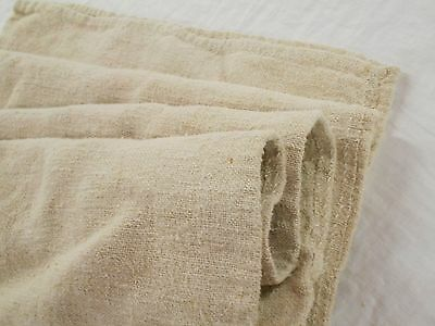 18x50 Vtg Antique FRENCH European HEAVY HEMP LINEN Fabric FEED SACK GRAIN BAG