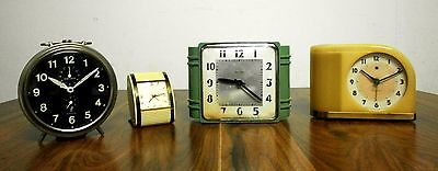 Antique Vintage Old Art Deco 4 ALarm Clocks