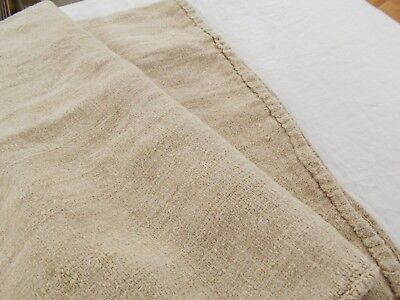 24x38 Vtg Antique NO STRIPE FRENCH HEMP LINEN Fabric FEED SACK GRAIN BAG