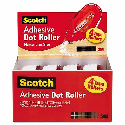 Scotch 6055BNS Adhesive Dot Roller Value Pack  0.3 in x 49 ft.  4/PK