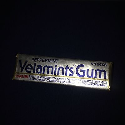 Vintage 5 Stick Pack Velamints Peppermint Chewing Gum Pack Full