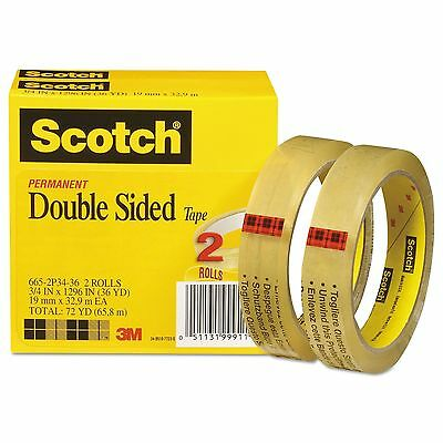 "Scotch 665-2P34-36 Double-Sided Tape  3/4"" x 1296""  3"" Core  Transparent  2/Pack"