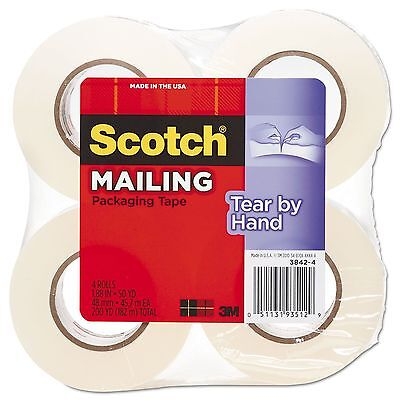 "Scotch 3842-4 Tear-By-Hand Packaging Tape  1.88"" x 50yds  1 1/2"" Core  Clear"