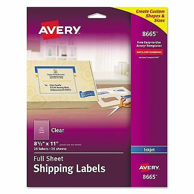 Avery 8665 Clear Easy Peel Mailing Labels  Inkjet  8 1/2 x 11  25/Pack