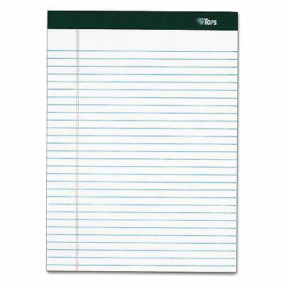 TOPS 99612 Double Docket Ruled Pads  8 1/2 x 11 3/4  White  100 Sheets  4