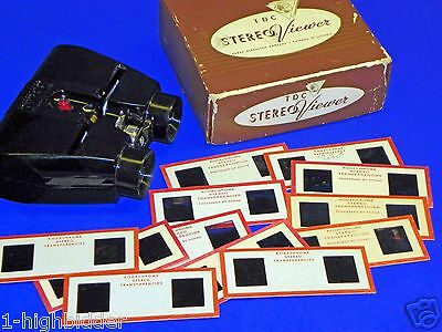 Vintage 1950s TDC Lighted 3D Stereo Viewer Stereoviewer +12 Realist Slides w Box