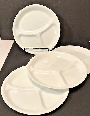 """4 Corelle Winter White Frost Corning Ware 3 Part Divided 10 1/4"""" Dinner Plates"""