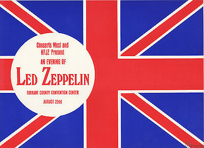 Led Zeppelin North American Tour Summer 1970 Aug 22 Fort Worth TX Handbill