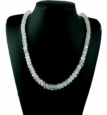 """Natural Blue Fire Rainbow Moonstone Faceted Rondelle Gemstone Beads Necklace 18"""""""