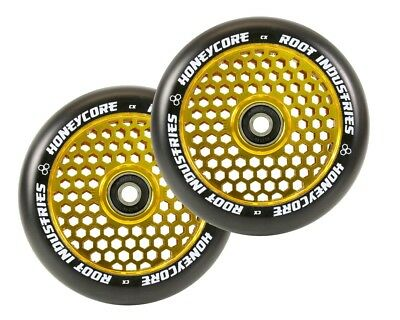 Root Industries Honeycore 110Mm Wheels | Pair W/ Bearings | Black/gold