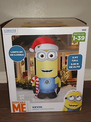 11' GEMMY Inflatable Christmas Minion DESPICABLE ME Kevin Airblown Illumination