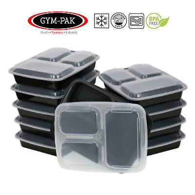 Meal prep 3 Compartment Food Containers x 10 Lunch Box ( Strongest containers )