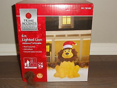 Home Accents Holiday 6 Ft Lighted Lion Airblown Christmas Inflatable Yard Decor