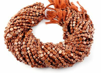 """5 Strand Synthetic Brown Sunstone Round Coin 5-7mm 13"""" Long Smooth Gemstone Bead"""
