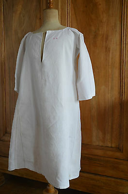 Antique French hand sewn linen hemp T monogrammed shift