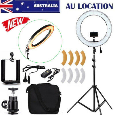 """Dimmable LED Ring Light 19"""" 5500K With Diffuser Light Stand Bag For Video Photo"""