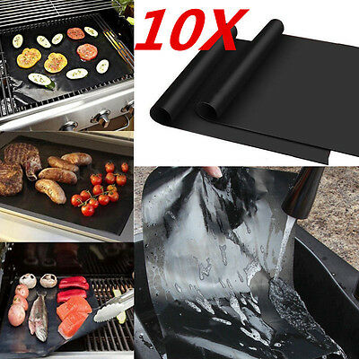 10X Black Reusable Non-stick BBQ Grill Mat Barbecue Baking Liner Cooking Sheet