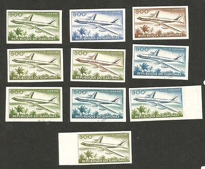 Dahomey 1963 Boeing 707 500Fr imperf color trials x 10 MNH