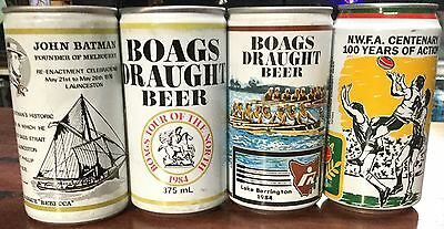 Boags Draught.Commemoratives.370ml.& 375ml x 4 Cans