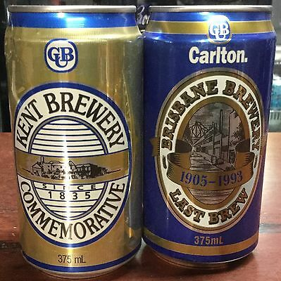 CUB.Commemoratives.375ml Kent Brewery & Brisbane Brewery x 2 Cans