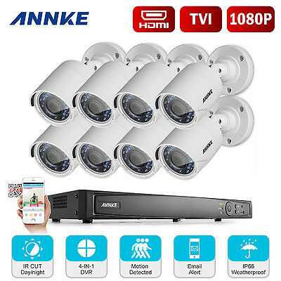 ANNKE TVI 16 Channels 4in1 DVR 8* 1080P Bullet Security Camera System QR Code HD